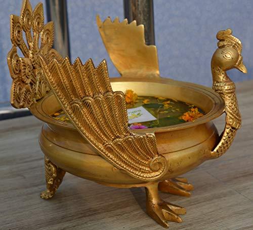 Aakrati Festive Decoration Brass Metal Home/Event Decor Hand Carved Urli/Pot
