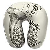 LXJ-CQ Almohada para el Cuello Musical French Horn Sketch Almohada de Viaje en Forma de U Vintage...