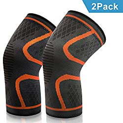 VIPFAN Knee Brace, Kneepads Knee Pads 2 Pack for Running Walking Cycling Football Basketball (L-2, Orange)