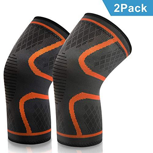 VIPFAN Kniebandage, Knieschoner Knieschützer 2 Pack für Laufen Walking Radfahren Basketball und Knie Sicherheit Schmerzlinderung – Sport Verletzungen Rehabilitation & Schutz (Orange, XL)