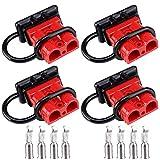 GTIWUNG Due Coppie di Connettori di Alimentazione 50A 600V, Connettore di Batteria, Batteria a Connessione Rapida 50A Cavo di Cablaggio per Auto, Rimorchio, Winch Trailer Verricello, Rosso