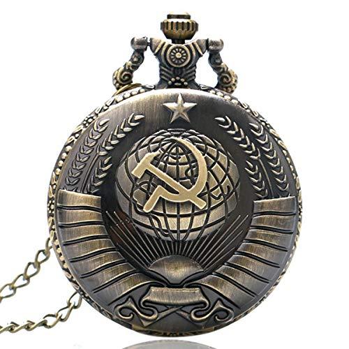 Relojes de Bolsillo para Hombre, diseño de Estrella del Comunismo, Bronce, Reloj de Cuarzo con Cadena, Regalo para Hombres