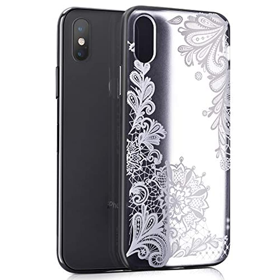 EMORCO Apple iPhone Xs Max Case with Lace Flowers Pattern Design,Shockproof Matte Back Cover Protective Cover