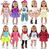 ebuddy 10-Sets Doll Clothes and Accessories for 18 inch American Girl Doll Include Dress Handbag Headband Hat and Rompers