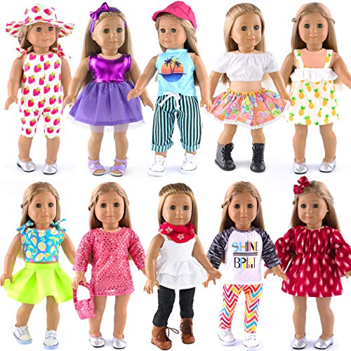 ebuddy 10-Outfit 18-Inch Doll Summer Set