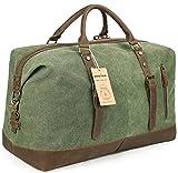 Beeaoo Canvas Weekender Bag Leather Trim Duffel Bag Overnight Weekend Bag for Men