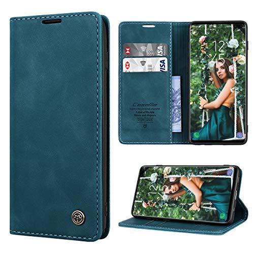 RuiPower Kompatibel für Samsung Galaxy S10 Plus Hülle Premium Leder PU Handyhülle Flip Hülle Wallet Lederhülle Klapphülle Klappbar Silikon Bumper Schutzhülle für Samsung S10 Plus Tasche - Blaugrün