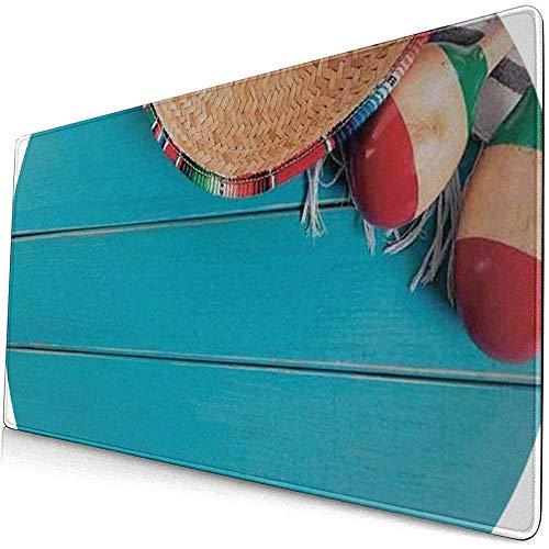 Gaming Extended Mouse Pads Mexikanische Native Latin Elemente Sombrero Maracas Auf Holz Hintergrund Blau Creme 30X80 cm