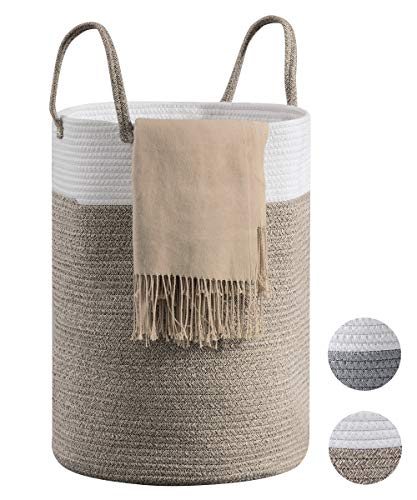 Cotton Rope Laundry Hamper by YOUDENOVA, 58L - Woven Collapsible Laundry Basket - Clothes Storage Basket for Blankets, Laundry Room Organizing, Bedroom Storage, Clothes Hamper – Brown & White