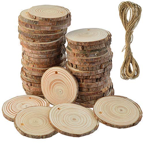 50 Pcs Natural Wood Slices Unfinished Predrilled Round Discs Hole Wooden Circles with 40 Feet Natural Jute Twine 2.4'-2.8' for Arts,Crafts,Christmas,Rustic Wedding Ornaments,DIY Crafts and Gift Tags