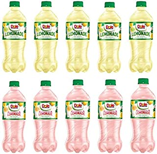Dole Strawberry Lemonade and Lemonade 20oz bottles pack of 10, Made with Real Lemon juice and real sugar (Total of 200 FL OZ)