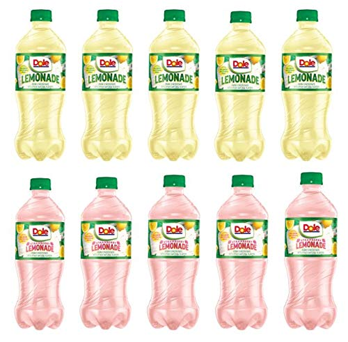 Dole COMBO Strawberry Lemonade and Lemonade 20oz bottles pack of 10, Made with Real Lemon juice and real sugar (Total of 200 FL OZ)