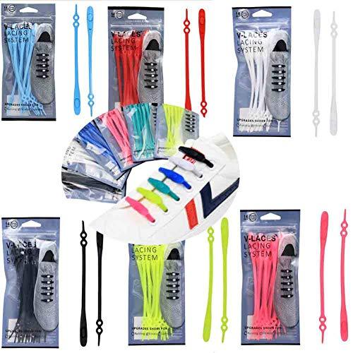 tie-Free Elastic Shoe Laces, Lazy Easy No Tie Elastic Shoe Lace Silicone Trainers Shoes Adult Kids Shoelaces (Multicolor)