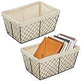 mDesign Juego de 2 cestas de almacenaje de metal – Cestas de alambre grandes...