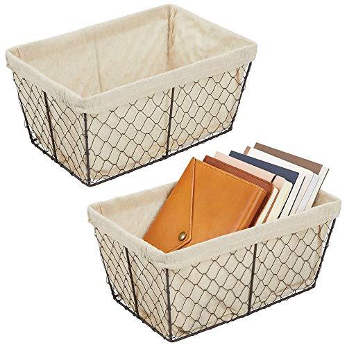 mDesign Juego de 2 cestas de almacenaje de metal – Cestas de alambre grandes con forro de tela – Cajas organizadoras para cocina, despensa, cuarto de baño y salón – color bronce