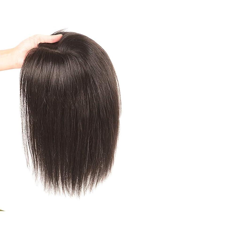 大宇宙指紋コメンテーターYAHONGOE フルハンド織物リアルヘアロングストレートヘア女性のための追加の見えないシームレスなかつらヘアピースファッションかつら (色 : [9x14] 40cm dark brown)
