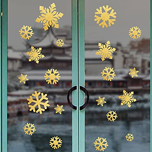 PMSMT 2 uds, Pegatina de Copo de Nieve Dorada, decoración, Ventana de Cristal, habitación de niños, Pegatinas de Pared de Navidad, calcomanías para el hogar, decoración, Año Nuevo 2021