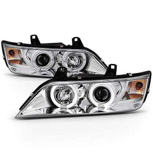 ACANII - For 1996-2002 BMW Z3 LED Halo Chrome Housing Projector Headlights Headlamps Assembly, Driver & Passenger Side