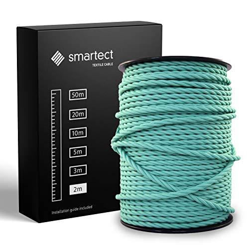 smartect Textilkabel Mint - 2 Meter Vintage Lampenkabel aus Textil - 3-Adrig (3 x 0.75 mm²) - Stoffummanteltes Stromkabel für DIY Projekt