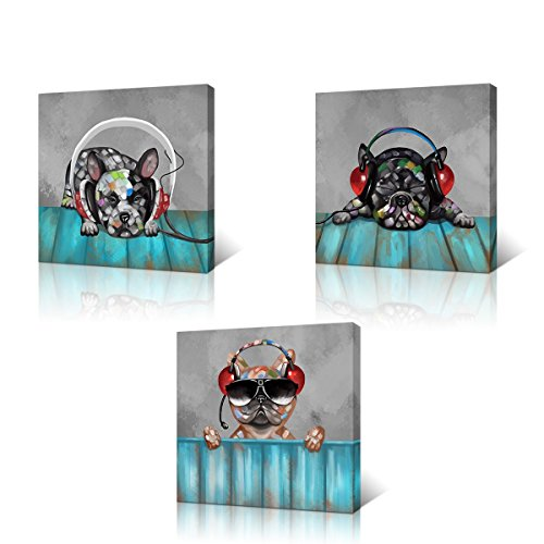 3 Pieces Dog Pictures Listening Music Animal Painting Canvas Wall Art Prints Living Room Bedroom Wall Decor Music Lover Gift