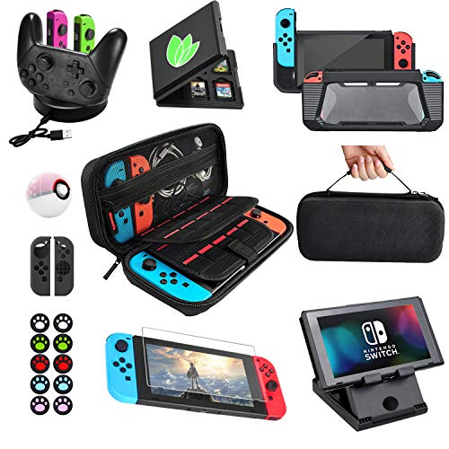 Accessories Bundle for Nintendo Switch Essential Games Kit for Switch Including Joy Con Covers,Grips and Thumbstick Caps, Carrying Bag Charging Dock, Game Card Case PlayStand