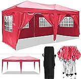 Serface Pavillon Faltpavillon 3x3/3x6 Wasserdicht Faltbare Gartenpavillon Festival Sonnenschutz Faltpavillon, UV-Schutz mit 4 Seitenteilen für Garten/Party/Hochzeit/Picknick (3x6m Rot)