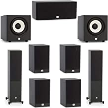 JBL 7.2 System with 2 JBL Stage A180 Floorstanding Speakers, 1 JBL Stage A125C Center Speaker, 4 JBL Stage A130 Bookshelf Speakers, 2 JBL Stage A100P Subwoofers
