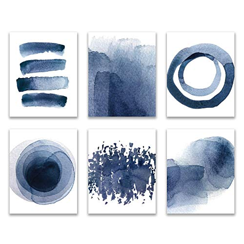 Wall Art Prints for Bedroom Living Room Kitchen | Abstract Blue Watercolor Paintings | 8X10 | UNFRAMED | Digital Prints | Home Decor Accents | Home Decorations | Set of 6