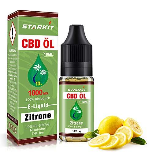 STARKIT® CBD E Liquid 1000mg, Vape Öl 10ml mit 10{d40581c159843431854250f440d1ff73cc403f137b9ed0c9c1336583addc7d10} Cannabidiol Hanf Öl für E Zigarette Starter Set SMOK E Shisha, PG70/VG30 Eliquid, ohne Nikotin, ohne THC (Zitrone Geschmack,1000mg)