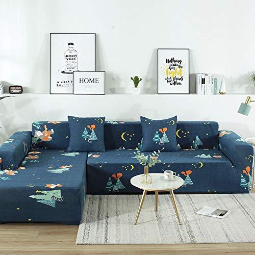 SSHHJ Moderne Und Einfache Cartoon L-Förmige Sofabezug All-Inclusive Stretch Sofa Handtuch rutschfeste Antifouling Sofakissen Restaurant Büro Sofa Stuhlbezug