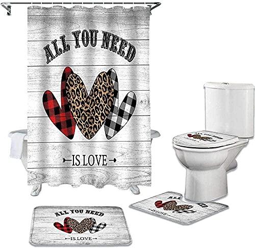 BGVDF Badezimmer Set Mit Duschvorhang Und Teppich Duschvorhang rutschfest Teppich Wc Abdeckung Teppich Home Dekoration,Rot Schwarz Plaid Und Leopard