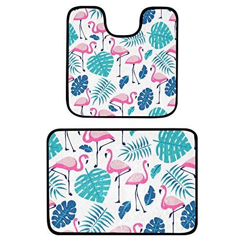 Ensemble de tapis de bain et tapis de bain 2 pièces - Motif flamants roses et plantes - Tapis de bain doux en peluche - Tapis de bain antidérapant et lavable (61 x 40,6 cm/50,8 x 50,8 cm)