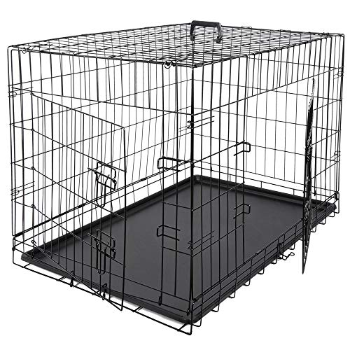 Dog Crate Double Door Folding Metal Kennel Cage with Tray for Small/Medium Dogs Indoor Outdoor Travel Use (36Inches)