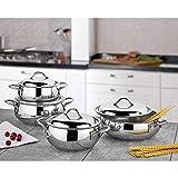 Gülsan Juego de utensilios de cocina modernos y de alta calidad de acero inoxidable, aptos para todos los hornos, aptos para lavavajillas (6 piezas).