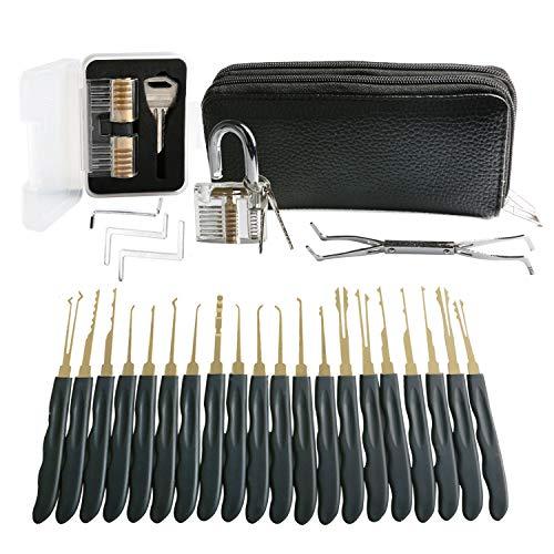 AMILE 28 Stück Dietrich Set Werkzeuge Praxis Set der mit Transparent Praxis Vorhängeschloss verbessern die Fähigkeiten von professionellen Schlüsseldienst Schleifen und Anfänger