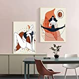 QJIAHQ Abstrait Yoga Fille Affiche Impression Toile Mur Art