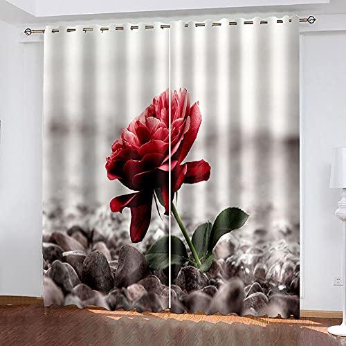 DRFQSK Cortinas Opacas Térmicas Aislantes para Salon Cortinas con Ojales para Dormitorio Impresión 3D Rosa Flor Roja Creativa Cortinas para Ventanas 2 Piezas 264 X 214 Cm(An X Al)