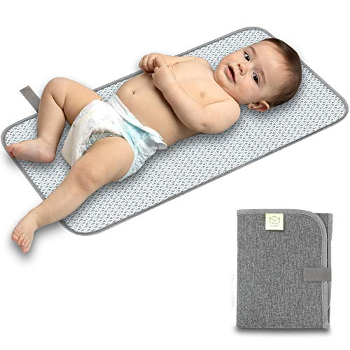 Portable Diaper Changing Pad - Waterproof Foldable Baby Changing Mat - Travel Diaper Change Mat - Lightweight & Compact Changing Pads for Baby - Baby Changer - Machine Washable (Classic Gray)