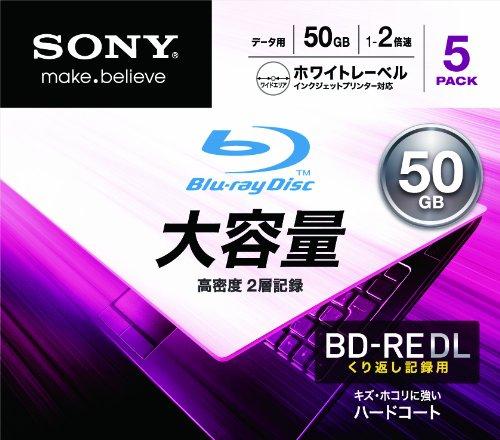 ソニー データ用ブルーレイディスク 5BNE2DCPS2(BD-RE2層:2倍速 5枚パック)