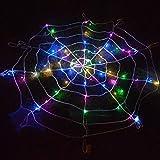Luz LED de tela de araña negra de Halloween con 30 luces LED de red naranjas impermeables y 1 araña negra para el jardín de la casa y el jardín Tema de Halloween de miedo para interiores y exteriores