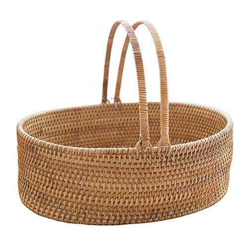 WUFENG Rattankorb mit doppelten Klappgriffen, handgewebten Geschenkkörben, Aufbewahrung von Plastik-Ostereiern und Ostersüßigkeiten, für Camping-Picknickkorb Einkaufskorb