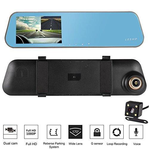 'Rückspiegel für Auto–leshp 4,3HD 1080P 32GB Dual 170° Objektiv-Kamera mit Nachtsicht