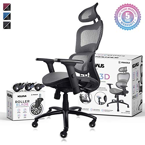 NOUHAUS Ergo3D Ergonomic Office Chair - Rolling Desk Chair with 3D Adjustable Armrest, 3D Lumbar Support and Extra Blade Wheels, Mesh Computer Chair, Gaming Chairs, Executive Swivel Chair (Black)