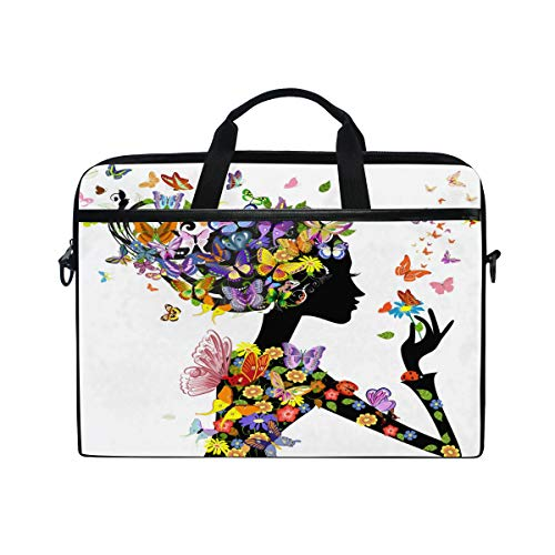 HAIIO Laptop Bag Case Colorful Butterfly Flower Leaves Women Computer Protector Bag 14-14.5 inch Travel Briefcase with Shoulder Strap for Women Men Girl Boys