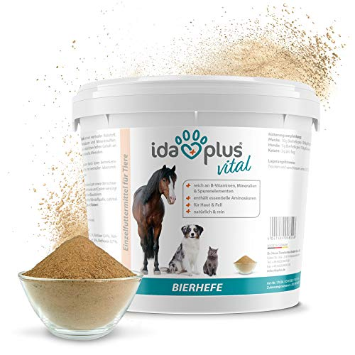 Ida Plus - Reines Bierhefe-Pulver - 3 kg - 100% Naturprodukt für Hunde, Katzen & Pferde - Futterergänzung für glänzendes Fell & kräftige Haut - reich an B-Vitaminen, Mineralien & Spurenelemente