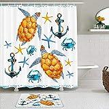 Juego de cortinas y tapetes de ducha de tela,Tortuga Anchor Sealife Tortuga Starfish Cangrejos Tropical Acuático Niños,cortinas de baño repelentes al agua con 12 ganchos, alfombras antideslizantes