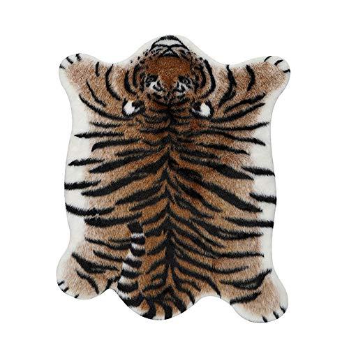 FF&XX Imitation Animal Pattern Tiger Area Rug,Non Slip Living Room Carpets,Modern Home Decorate Shaggy Rug,for Children Bedroom Home Decor-C 85x110cm