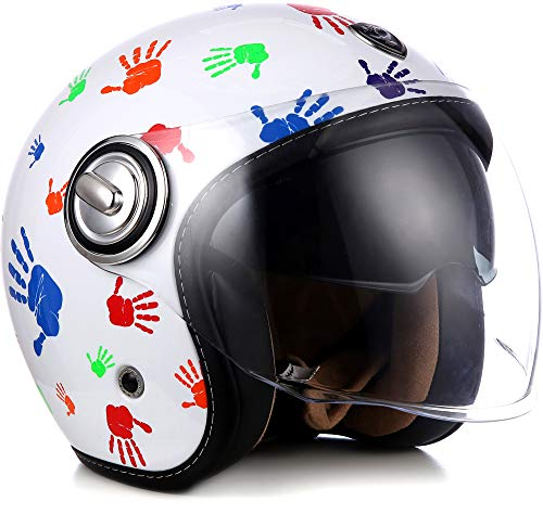 "SOXON® SP-888 ""Color Hands"" · Jet-Helm · Motorrad-Helm Roller-Helm Scooter-Helm Moped Mofa-Helm Chopper Retro Vespa Vintage · ECE 22.05 Sonnenvisier Schnellverschluss SlimShell Tasche M (57-58cm)"