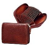 ABYS Funda de piel auténtica Bombay Brown para identificación   monedero    caja para tarjeta de cajero automático    titular de la tarjeta de débito hombres y mujeres con cierre de cremallera