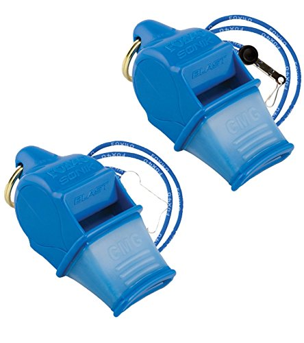 Fox 40 Sonik Blast CMG Whistle Lanyard Referee Outdoor Dog Safety Blue (2-Pack)